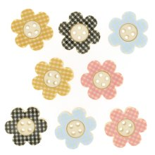 Plaid Petals - Flower Shaped Novelty Craft Buttons / Embellishments by Dress It Up