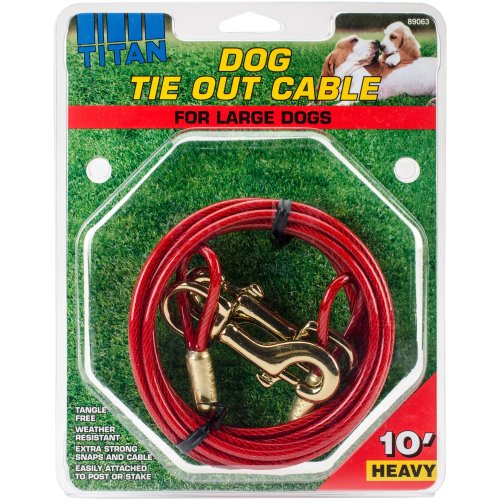 Titan Heavy 10' Dog Tie Out Cable W/Brass Plated Snaps-Red