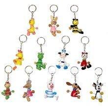60 Assorted Wooden Animal Keychains