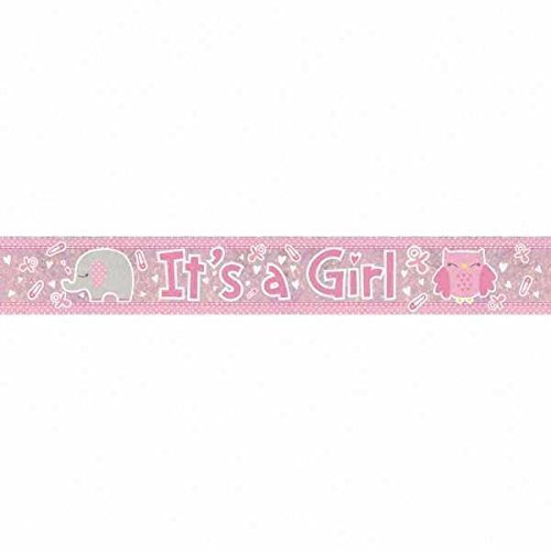 amscan 9900038 2 7 m it s a girl holographic foil banner its 27