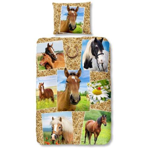 Good Morning Duvet Cover 5752-P HORSES 140x200/220 cm Multicolour Pillowcase