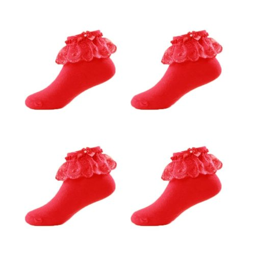 4 Pairs Baby Girls Socks For 3-5 Year-old Girls Short stockings With Lace Kids Cute Crew Socks Cotton [Red]