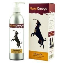 MaxxiOmega Oil for Dogs for Healthy Skin & Shiny Coat - Omega 3, 6 & 9, Vitamins A, D & E and Biotin - No Fishy Smell – Easy To Use Pump – 296 ml