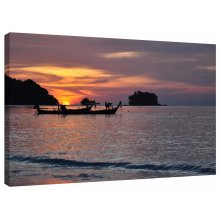 Tropical Island Sea Sunset Canvas Wall Art Picture Print