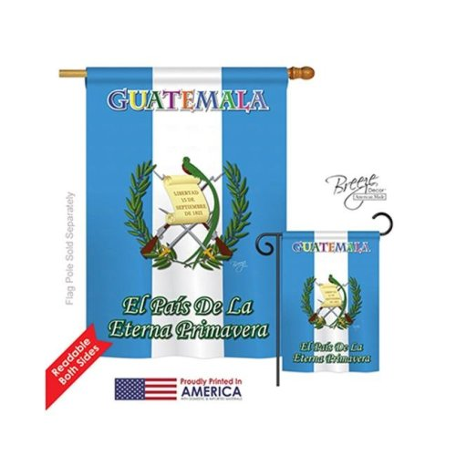 Breeze Decor 08096 Guatemala 2-Sided Vertical Impression House Flag - 28 x 40 in.