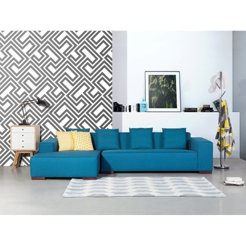 Sofa blue - Corner R - Upholstery Fabric -  LUNGO