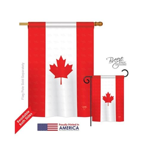 Breeze Decor 08008 Canada 2-Sided Vertical Impression House Flag - 28 x 40 in.