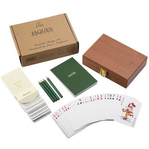 Jaques of London Bridge Set - Premium Plasti-Coat Bridge Cards and Luxury Mahogany Case