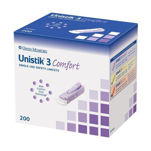 200 x Unistik- 3 Comfort Lancet Finger Pricker - Sugar, Glucose Test