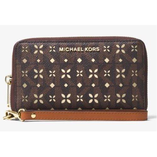 Michael Kors Jet Set Travel Perforated Logo Phone Case - Vanilla Logo/Gold - Brown - 32T6GTVE9U-200