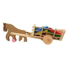 Children's Wooden Toy Horse & Carriage with Colourful Building Blocks