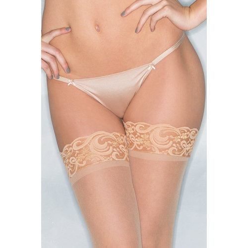 Basic Thong With Bows - Nude Large Ladies Lingerie Thongs - Be Wicked