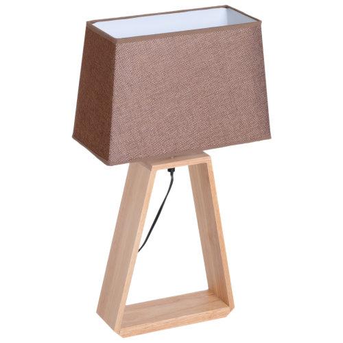 HOMCOM Bedside Table Lamp DresserSolid Oak Wood Holder Soft Light Glow E27 Base Bedroom Living Room Coffee