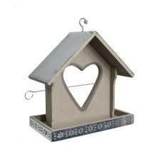 Garden Bird Feeder With Heart Shaped Apple Holder In A Grey Finish