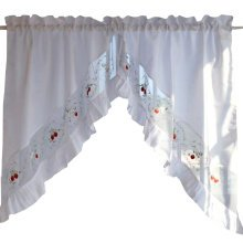 Sweet Embroidered Curtain Kitchen Curtain Coffee Screen-A Pair