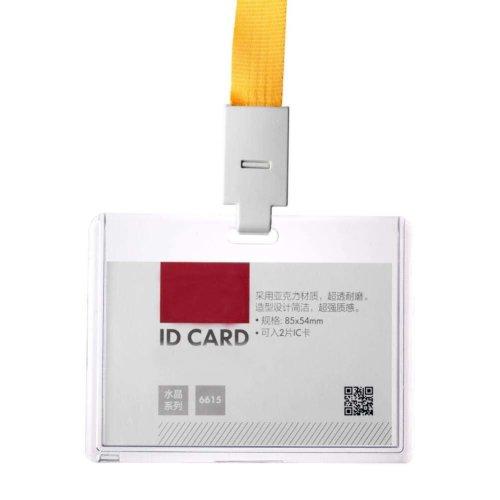 Acrylic Clear Horizontal ID Card Badge Holder with Neck Lanyard Strap 5PCS - 06