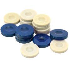 Galalith Luxury Backgammon Stones Blue & Ivory 36mm