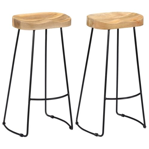 vidaXL 2x Solid Mango Wood Gavin Bar Stools 45x40x78cm Dining Room Chair Seat