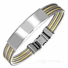 Urban Male Stainless Steel Two Colour Braided Wire ID Plate Bangle Bracelet