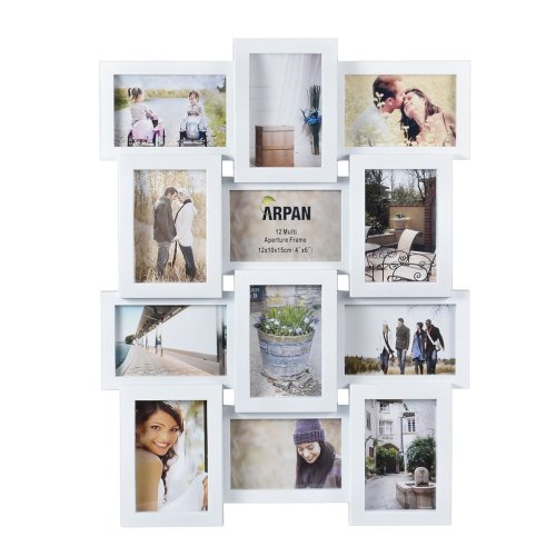 Multi Apperture Picture/Photo frame, Holds 12 x 6''X4'' Photos WHITE