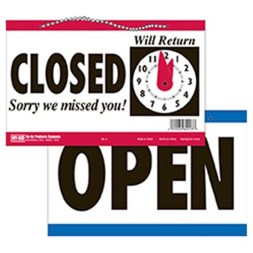 Hy-Ko Products CL-1 5.75 x 11 in. Open & Closed Clock Sign, White and Black