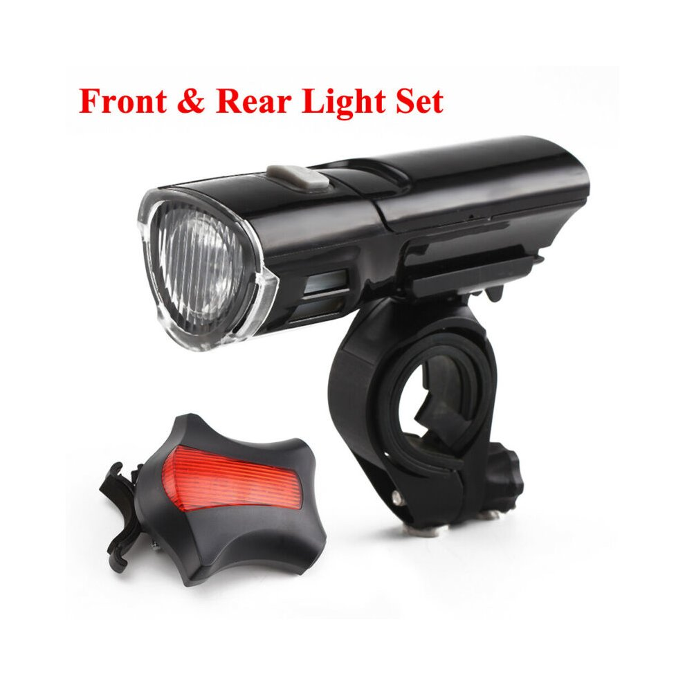 MTB Road Bike Bicycle Cycling Head Front Lights w// Laser Rear Tail Lamps Set