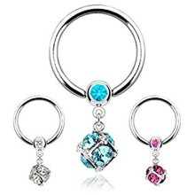 Multi Crystal Encased Dice 1.6mm x 12mm Surgical Steel CBR Captive Bead Ring Universal Piercing Body Jewellery