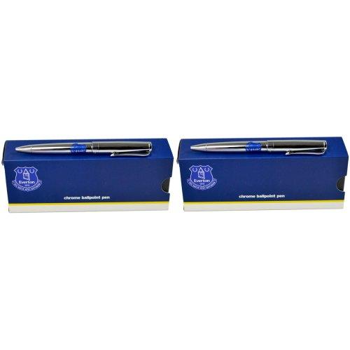 2 x Everton Executive Pen Sets in Gift Boxes -Chrome Ball Point Pen