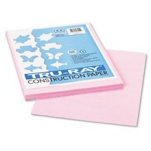 """Recycled Fade-Resistant Construction Paper, 76#, 9""""x12"""", Pink, 50/Pack PAC103012"""
