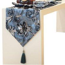 Fashionable Velvet Gilding Folwer Decor Table Runner(12*71inch),Blue