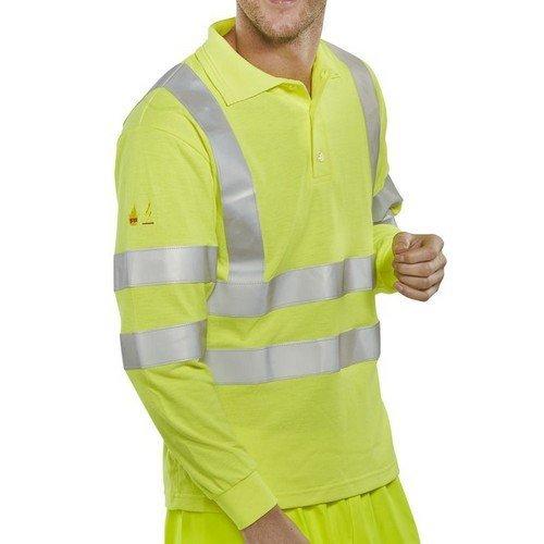 Click CFRHVPSLSASXXL Flame Retardant Anti Static Hi Vis Yellow Long Sleeve Polo Shirt XXL