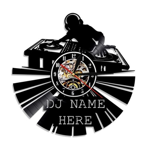 "DJ Creative Vinyl Light 12 ""Disco Custom Laser Etched Wall Art Wall Clock"