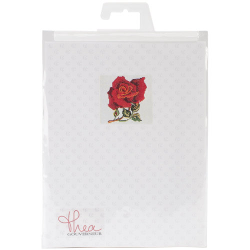 """Red Rose On Aida Counted Cross Stitch Kit-5.125""""X5.125"""" 16 Count"""