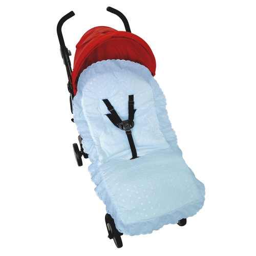 Broderie Anglaise Seat Liner Cover Fit Buggy Pushchair Baby Blue