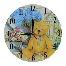 Obique Home Decoration MDF 28cm Teddy Bear & Flowers Scene Wall Clock