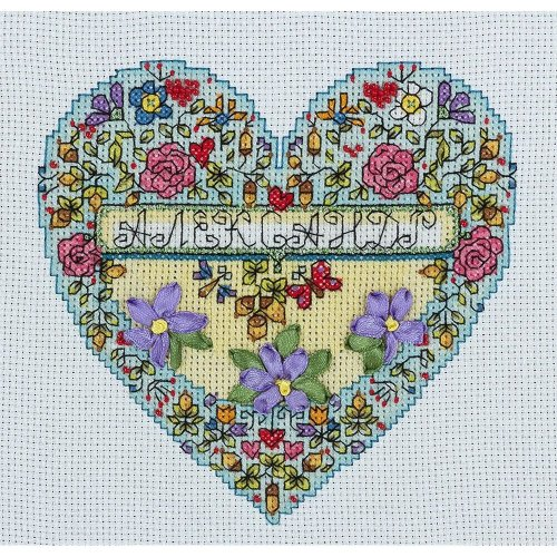 Panna Cross Stitch, Beads, Ribbons Embroidery kit - L-1642 With Love