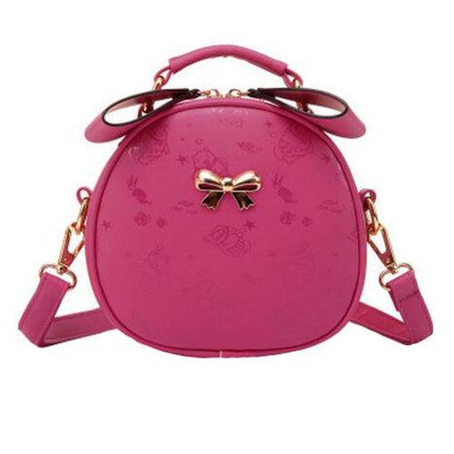 Girls Elegant Single Shoulder Strap Bag Fashion Purse Cute Bow Round Printed Shoulder Bag