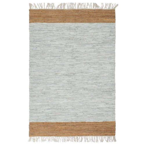 vidaXL Hand-woven Chindi Rug Leather 120x170cm Light Grey and Tan Carpet Mat