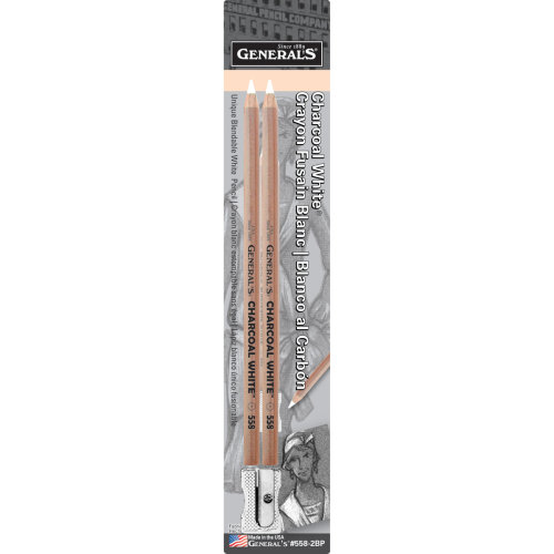 Charcoal White Pencils 2/Pkg-2B
