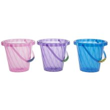 5.5' Round Ribbed Opaque Children's Bucket With Lip And Handle. -