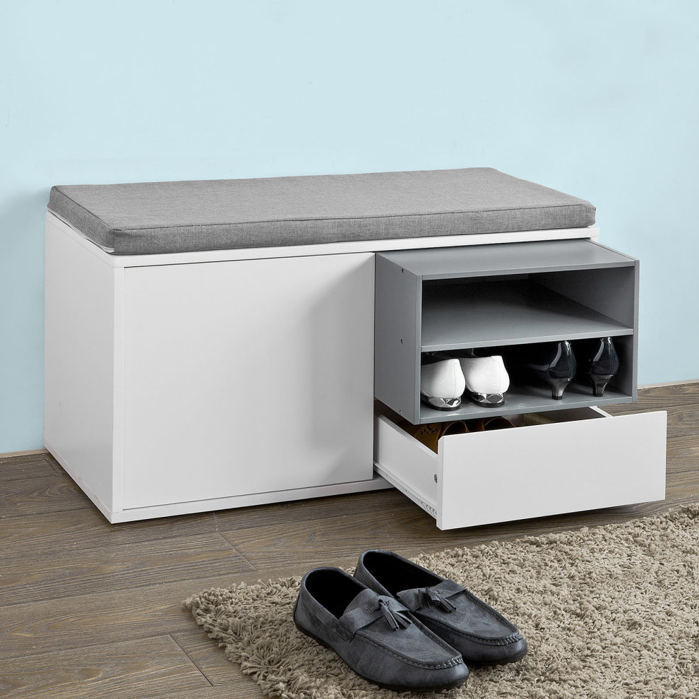 SoBuy® FSR37 W, Hallway Shoe Cabinet Shoe Rack Shoe Storage Bench