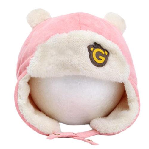 Cute Winter Baby Kids Warm Earmuffs Hats Comfortable Plush Caps Best Gift-Pink