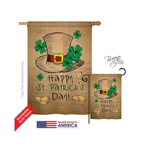 Breeze Decor 02031 St Pats Hat Burlap 2-Sided Vertical Impression House Flag - 28 x 40 in.