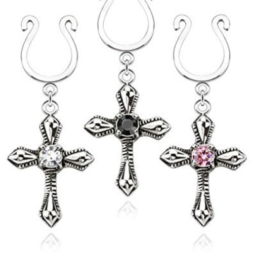 Crystal Centered Cross Dangle Fake Faux Clip On Nipple Bar