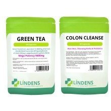 60 Green Tea Extract Huge 9000mg & 60 Detox Colon Cleanse Diet Slim Pills Fat