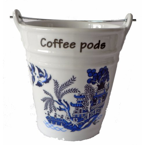 Blue Willow Pattern Bucket for Used Coffee pods,