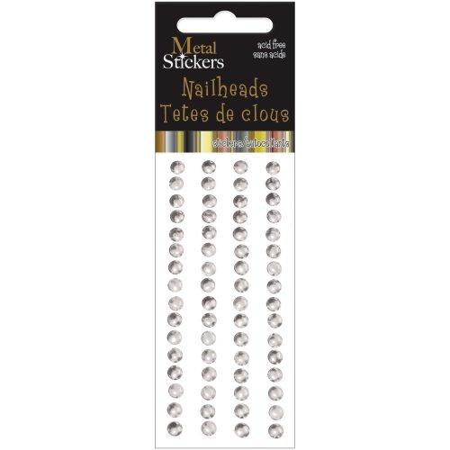 Metal Stickers Nailheads 5mm Round 64/Pkg-Silver