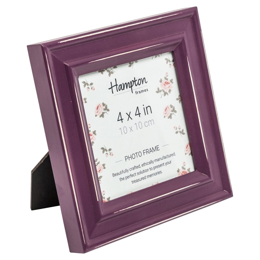 PAL301944A Paloma Square Photo Frame 4x4 (10x10cm) Aubergine Purple  Burgundy Painted Distressed Wood Finish  Drop in Backs with Swivel Clips   30mm