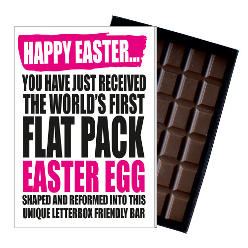 Funny Flat Easter Egg for Men Women Friend Silly Chocolate Greeting Card