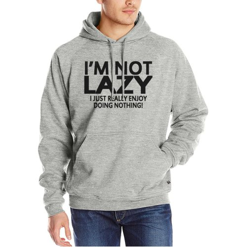 I\'M NOT LAZY I JUST Really ENJOY DOING NOTHING ! hoodies men Distressed Style sweatshirt 2017 casual fleece fitness tracksuits